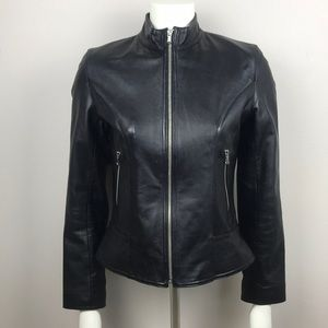 Guess Black Genuine Leather Jacket